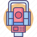 electronic, equipment, instrument, optical, station, topography, total icon
