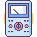 circuit, electric, electrical, meter, metre, volt, voltmeter icon
