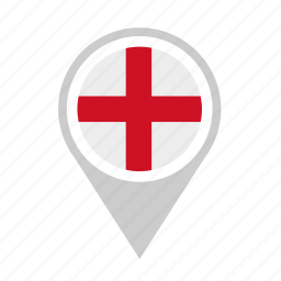 england, flag, location, map, pointer icon