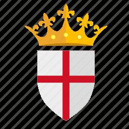 crown, england, kingdom, nation, shield icon