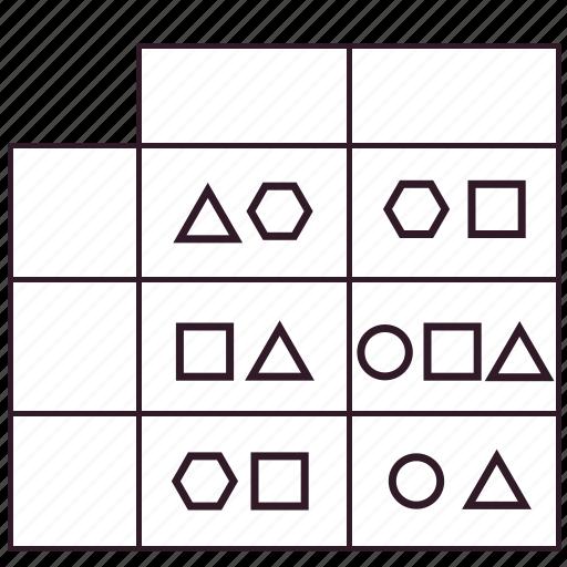 artifact, data, gap analysis, matrix, modeling, results of analisis, table icon