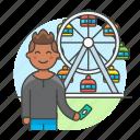 2, amusement, carnival, entertainment, fair, ferris, male, parks, ride, ticket, wheel icon