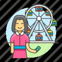 amusement, carnival, entertainment, fair, female, ferris, parks, ride, ticket, wheel icon