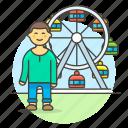 amusement, carnival, entertainment, fair, ferris, male, parks, ride, ticket, wheel icon