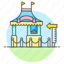 amusement, booth, entertainment, entrance, fair, height, minimum, parks, ticket icon