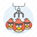 amusement, angry, arcade, bird, birds, claw, crane, entertainment, parks, plush, stuffed, toy icon