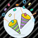 brithday, celebration, cone, confentti, confetti, congratulation, ertainment, party, popper