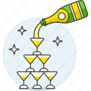 1, bottle, celebration, champagne, entertainment, event, glass, party, tower, wedding icon