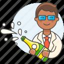 bottle, celebration, champagne, entertainment, event, graduation, male, open, party, wedding