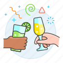 beverage, celebration, champagne, cheer, cheers, cocktail, drink, entertainment, glasses, party icon