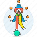 ball, balls, circus, clown, entertainment, event, juggling, show, skill, standing, swiss icon