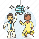 ball, celebration, couple, dance, dancers, disco, entertainment, mirror, party