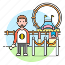 1, amusement, carnival, entertainment, entrance, fair, man, parks, ticket icon