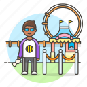 2, amusement, carnival, entertainment, entrance, fair, man, parks, ticket icon