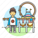 3, amusement, carnival, entertainment, entrance, fair, man, parks, ticket icon