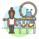 amusement, carnival, entertainment, entrance, fair, parks, ticket, woman icon