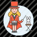 2, entertainment, female, magic, magician, performance, rabbit, show, trick, wizard icon