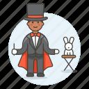 3, entertainment, magic, magician, male, performance, rabbit, show, trick, wizard icon