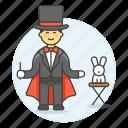 entertainment, magic, magician, male, performance, rabbit, show, trick, wizard icon