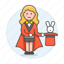 entertainment, female, magic, magician, performance, rabbit, show, trick, wizard icon