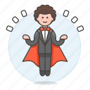 1, entertainment, floating, levitating, magic, magician, male, show, trick icon