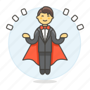 entertainment, floating, levitating, magic, magician, male, show, trick icon