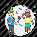 celebration, confetti, couple, dance, dancing, entertainment, friends, maraca, music, party
