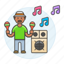 2, celebration, entertainment, male, maraca, mexican, music, party, rattle, speaker icon
