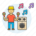 3, celebration, entertainment, male, maraca, mexican, music, party, rattle, speaker icon