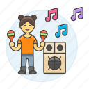 celebration, entertainment, female, maraca, mexican, music, party, rattle, speaker icon