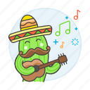 cactus, celebration, entertainment, guitar, guitarist, hat, mexicam, mexican, party, player icon