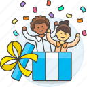 gift, celebration, party, birthday, friends, in, surprise, unexpected, entertainment, box
