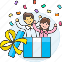 birthday, box, celebration, entertainment, friends, gift, in, party, surprise, unexpected icon