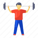 barbell, exercise, fitness, gym, halteres, weight, weight lifting icon