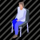 cartoon, chair, family, isometric, man, stay, woman