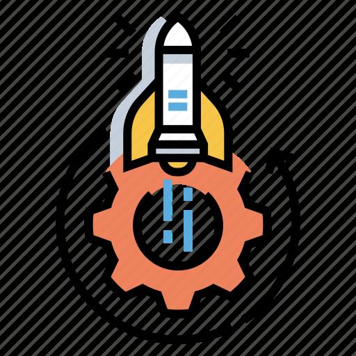 development, execution, idea, innovation, launch, rocket, startup icon