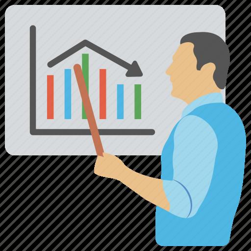 business, business analytics, presentation, statistics, whiteboard graph icon