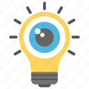 aware through senses, eyeball light bulb, perception, sensory information, source of knowledge icon