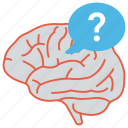 man thinking, question mark brain, psychology, mental process, quiz icon