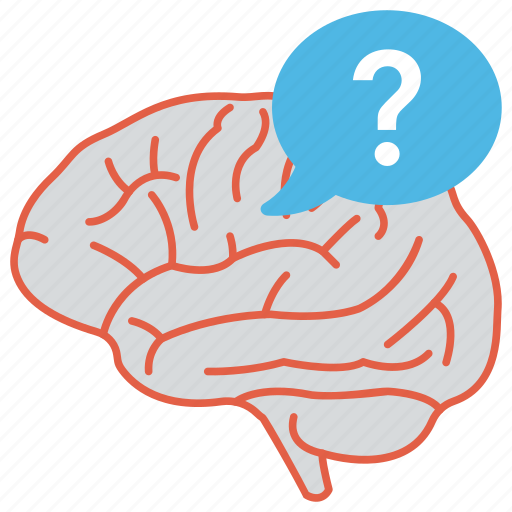 man thinking, mental process, psychology, question mark brain, quiz icon