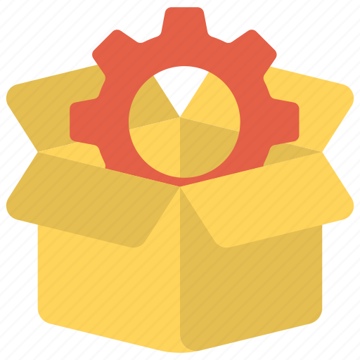 gear inside cardboard box, innovation process, new product development, production management, seo package symbol icon