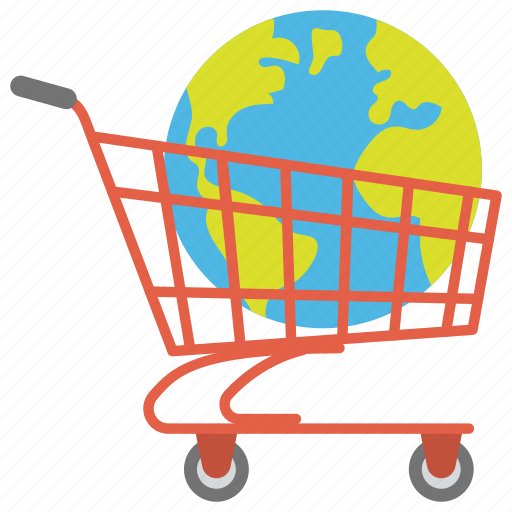 ecommerce concept, global shopping concept, online shopping, shopping cart with earth or globe, world commerce icon
