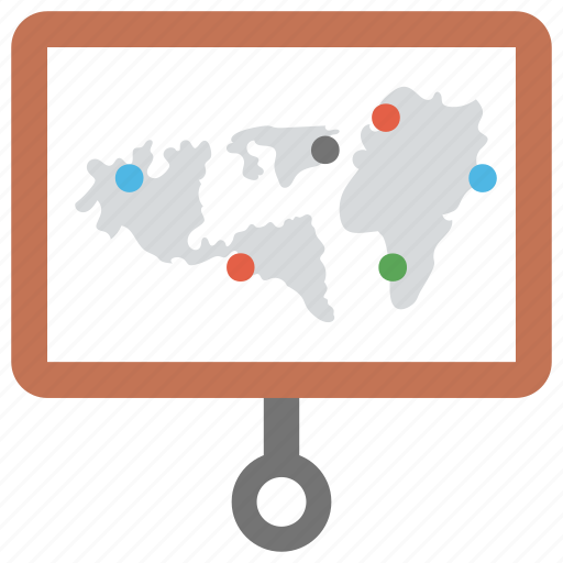 business meeting, business presentation, projection screen map, projection world map, world topography map icon