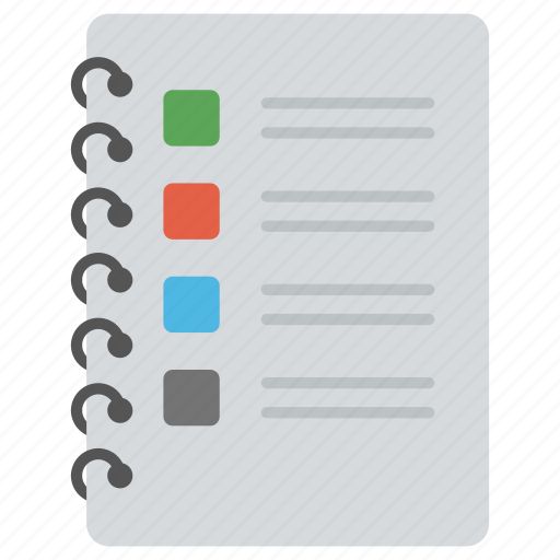 agenda list, diary, jotter, list, notebook icon