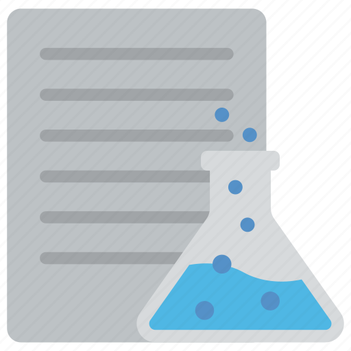 data analysis, data lab, data research, data science, document with conical flask icon