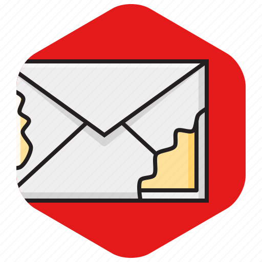 corrupted, damaged, email, envelope, hacked, mail, thread icon