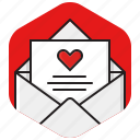 envelope, heart, love letter, love mail, message, romance, valentines icon