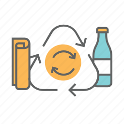 bottle, clean, garbage, paper, recycle, reduce, trash icon
