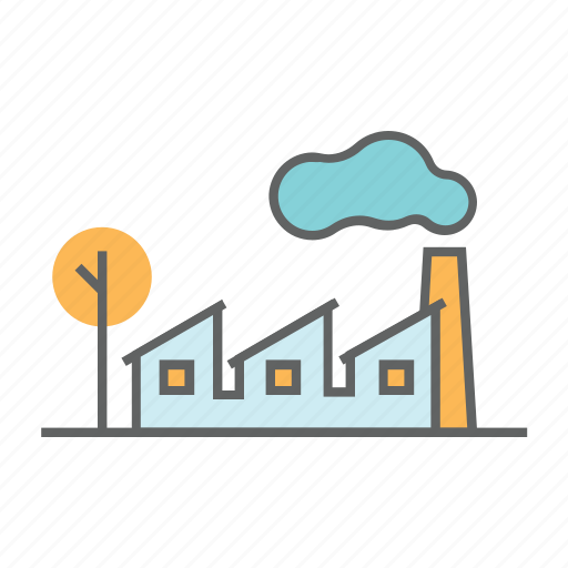 environment, factory, industrial, industry, pipe, pollution, smoke icon