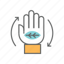 eco, ecology, green, hand, leaf, service, services icon